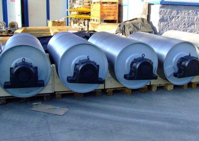 Tamburi per movimentazione sfusi serie tamburi diam 800 x 2200 mm completo di supporti